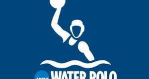 Official NCAA water polo logo navy blue with white stencil of player