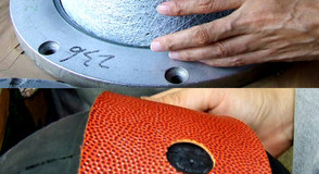 making of a basketball 2 steps ball before the rubber is put on and the bottom picture is a black rubber ball getting it orange outer pieces put on standard equipment for basketball balls
