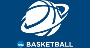 NCAA official logo for basketball navy blue background with a white stencil of a basketball standard logo