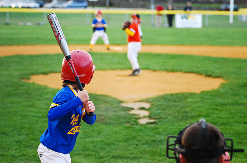 little league baseball view from behind the plate standard equipment