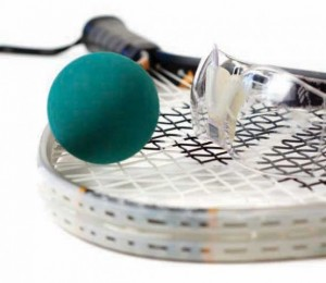 teal racquetball ball and protective eye wear laying on racquet basic equipment for racquetball rubber ball