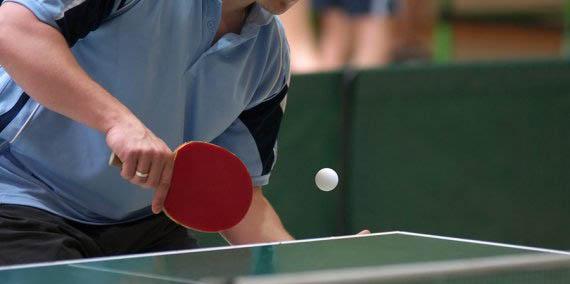 Table Tennis Player About To Hit A Ping Pong Ball Basic Equipment For Table  Tennis/