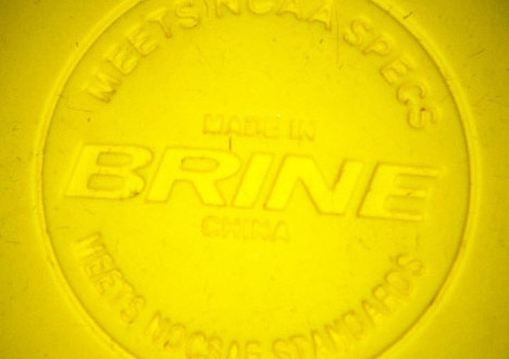 NOCSAE National Operating Committee on Standards for Athletic Equipment, stamped yellow ball new regulated lacrosse ball