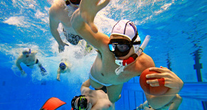 mens water polo 6 men playing water polo with snorkeling gear regulated equipment for water polo